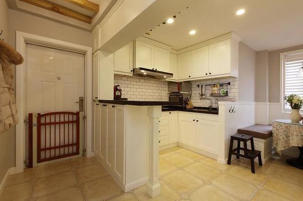 60平方别墅室内装修设计效果图:开放式厨房图片