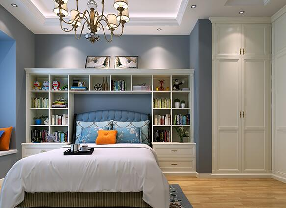 创意的床头卧室书柜布置方法图片