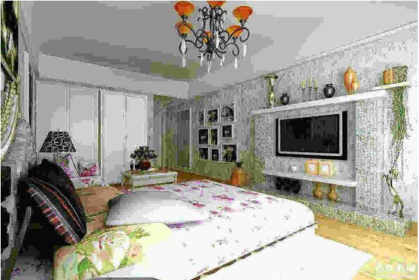 卧室床尾墙面布置