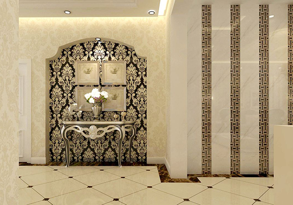 四、欧式玄关背景墙装修效果图组欣赏雕花元素的欧式玄关背景墙设计   最后,说起欧式风格家装,自然少不了最为典型的繁复欧式雕花元素了。现如今的欧式家装中人们不再一味强调奢华雍容感,而是更倾向于将奢华与精简进行融合,例如上图中的欧式玄关背景墙设计。其欧式玄关室内背景墙设计采用拱门内为整面精美的黑白欧式雕花,繁复而奢华;墙壁上挂四幅简单白色边框的壁画以及银白色金属材质的置物架,为整面背景墙增添了简约低调的氛围。奢华与精简的结合富有韵味,令人回味无穷。   以上就是小编整理的有关欧式玄关背景墙装修效果的案例
