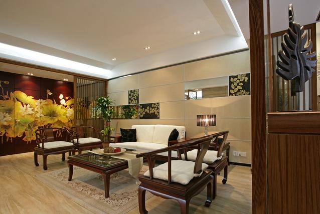 这里我们所说的墙壁设计装饰搭配其实还包括中式客厅的天护板及其灯饰图片