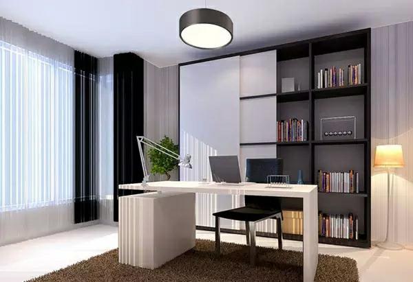 经典的黑白灰搭配在当下,受到越来越多的年轻人和商业人士的偏爱。黑白灰配色体现了主人的干练,书房也给人以干净整洁的印象,这样的配色给人以宁静,让人能在安静的环境中安心阅读或工作。 在使用黑白灰的时候,色彩比例一定要掌控好,白色和黑色使用不能对半分,如果想要家居明亮一些,白色比例要大一些,但是也不能太大,灰色和黑色做点缀,因为过多的使用黑色则会让空间显得压抑从而失去的温馨感,过多的使用白色则又少了一些气度,而如果黑白对半的话,则会失去个性,显得很不自然。