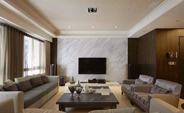 客厅大理石电视墙装修效果图 就是要简洁大方
