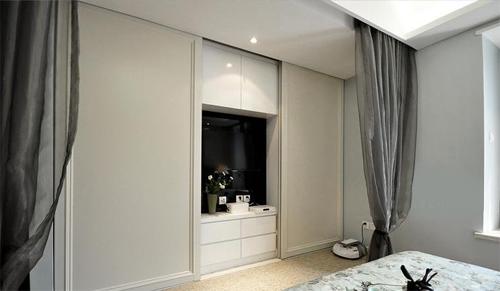 隐藏式衣柜   衣柜内置电视柜,配合多个储物抽屉,一面墙的位置图片