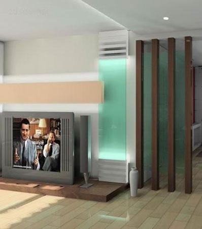 客厅电视墙装修图片:大理石和墙纸在欧式风格里应用较多.