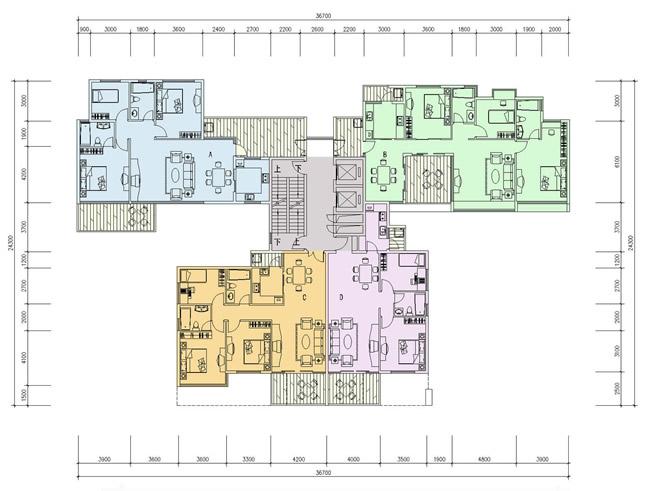 户型方案评价:   本方案将入户花园理念发挥到极致,且套型面积全部控制在80~90m2之间。   A户型端头可按单元组合调整   B户型布局可供方案一借鉴。   本方案不足之处:   交通合公摊面积偏大,土地利用率不太高;如考虑将A户型整体向下(南侧)偏移,则有助于提高土地利用。   1-2 入户花园方案