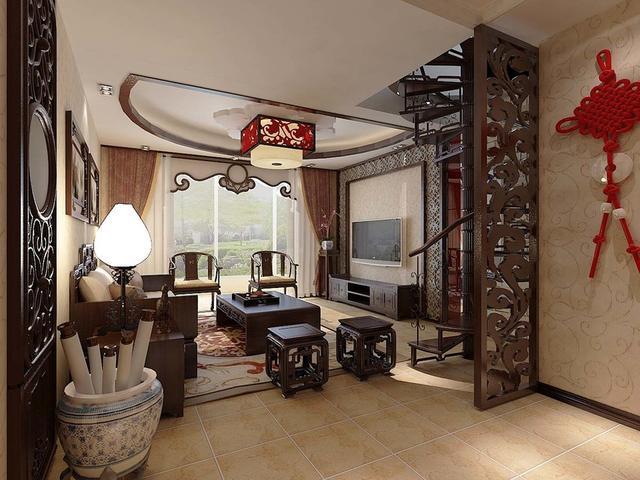 200平米中式风格家居 尽显大气沉稳之感图片