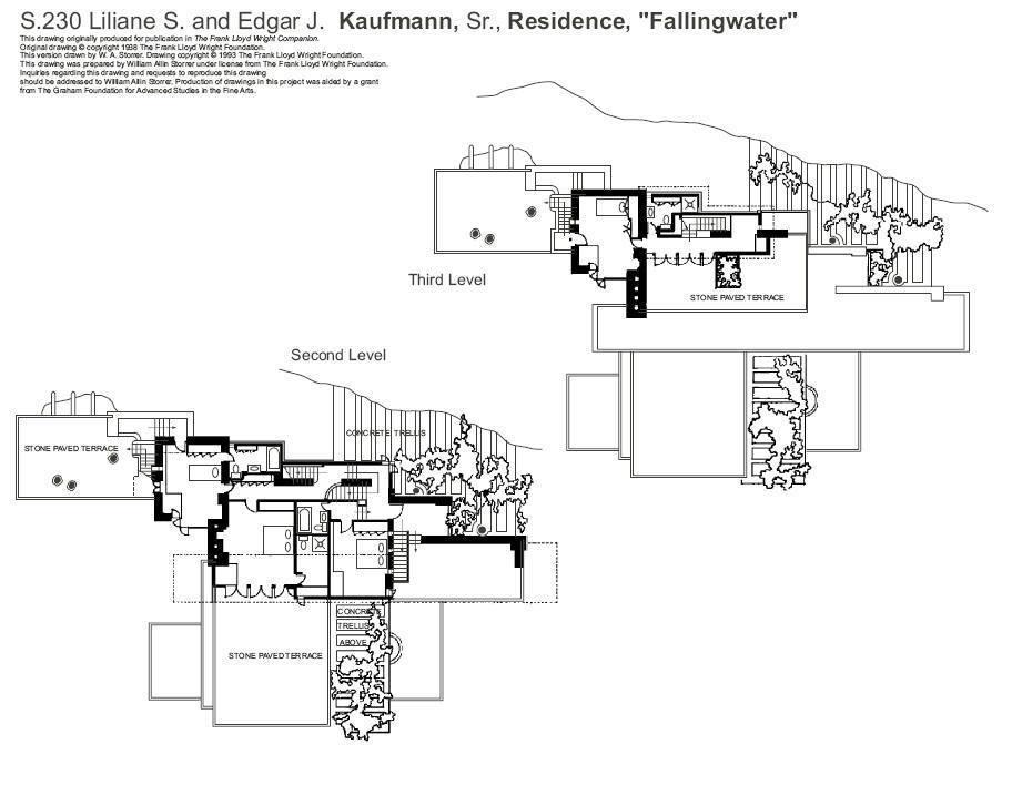 流水别墅装修 赖特的成名作流水别墅装修平面效果图