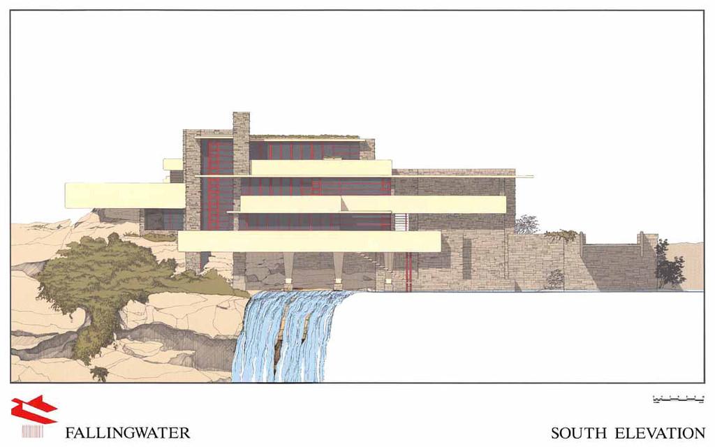 赖特流水别墅 赖特流水别墅手绘户型图