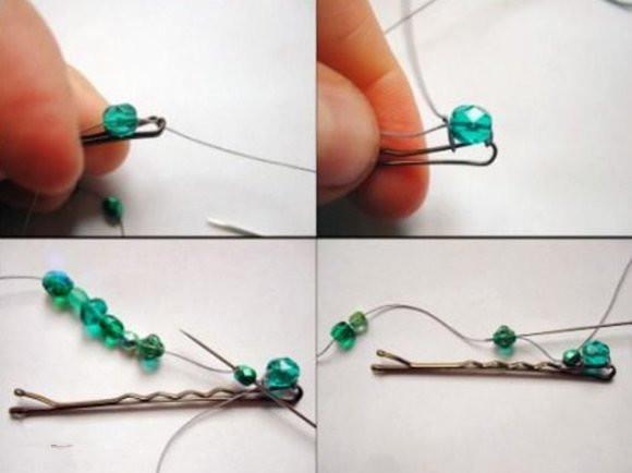 手工diy:串珠发夹制作 diy手工制作发夹