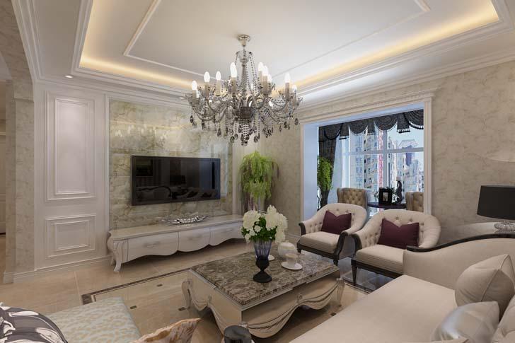 简约欧式客厅装修效果图 简欧客厅尽显华丽浪漫