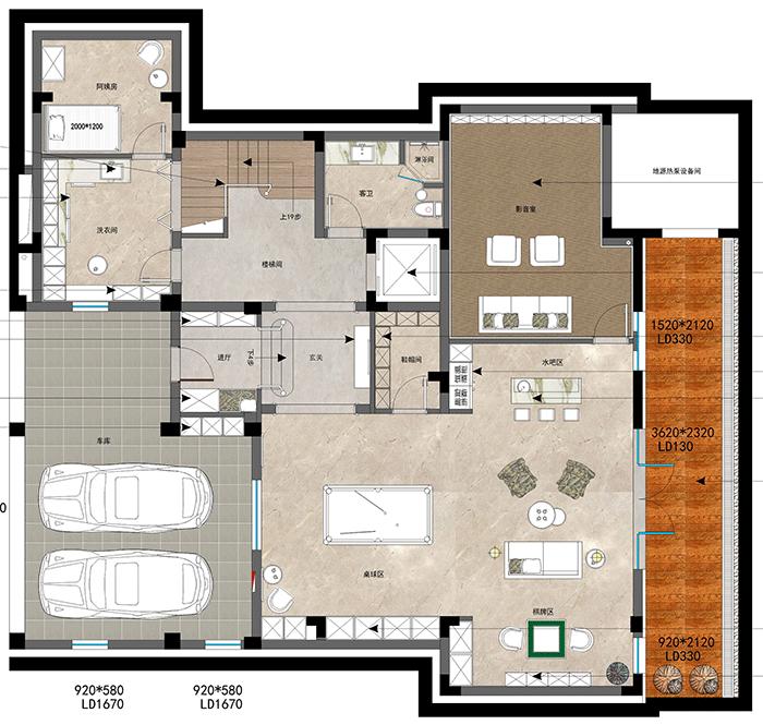 别墅装修设计600平国宾一号平面布置图-负一层