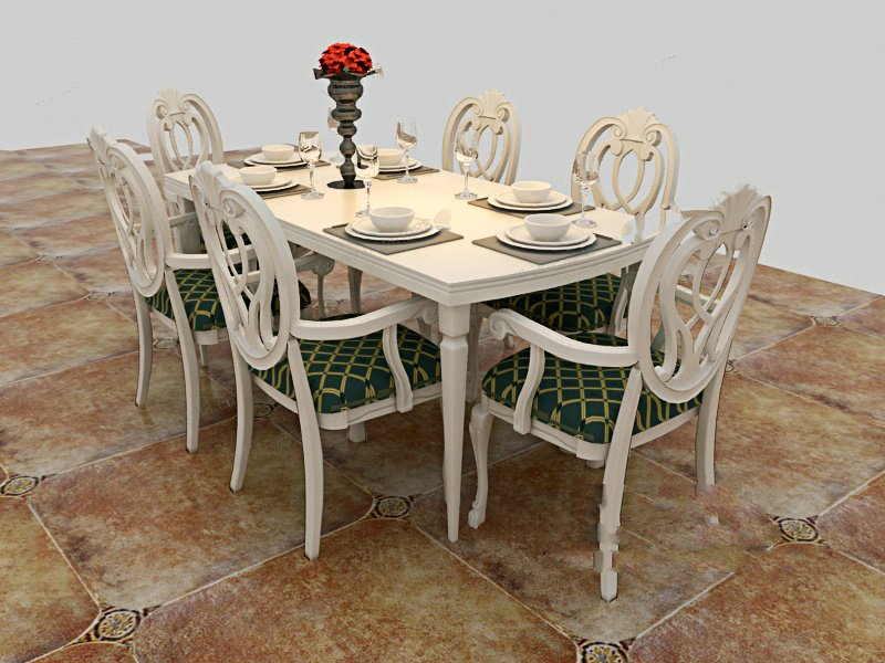六人餐桌的尺寸根据风格不同会有一定的差异,比如欧式风格的餐桌