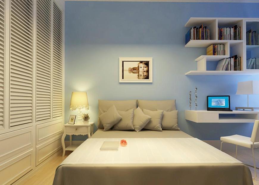 12平米卧室装饰的时分,关于灯具佳是挑选可调理灯火的.图片