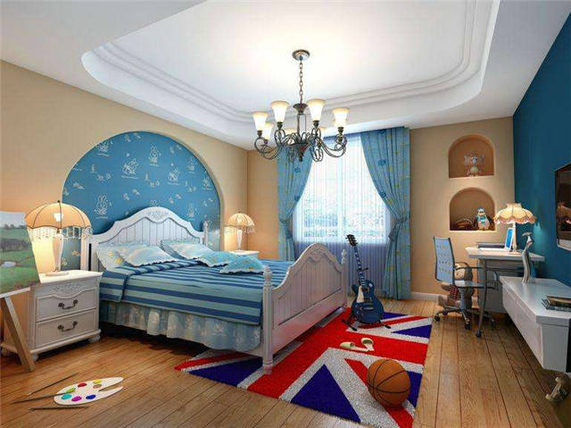 风格的儿童房间装修,清新亮丽的浅绿色美式儿童家具配上可爱的粉色