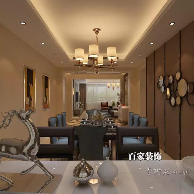 风格别墅的餐厅吊灯很有创意,与客厅相辉映,同时又能与餐厅木质家具搭