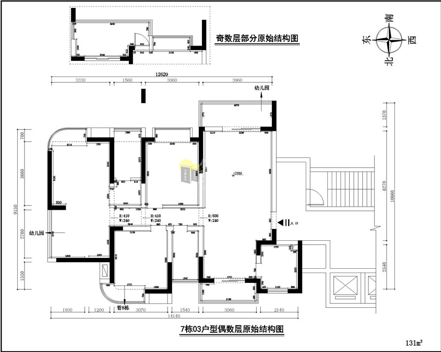 7栋03户型原始结构图 131㎡      户型优点   空间实用性高整体