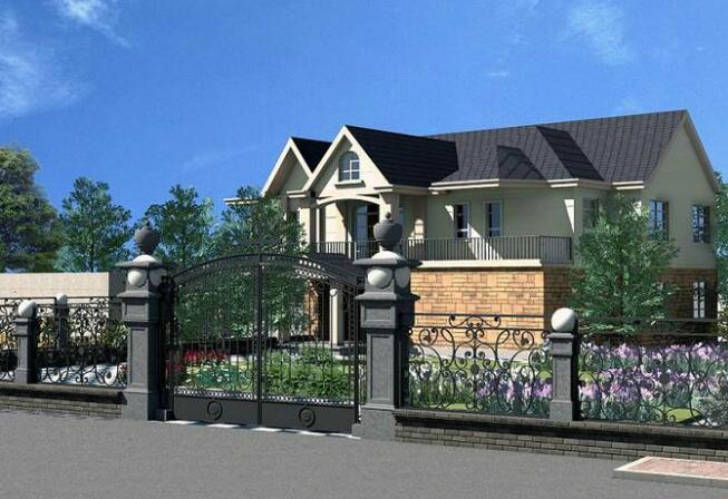 通常别墅大门的v别墅有两种,一种是带有门亭的别墅风,一种是与房价庭院三花桥层昆山欧美图片