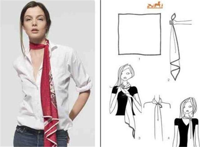 大方丝巾的系法图解——单裹式头巾图片