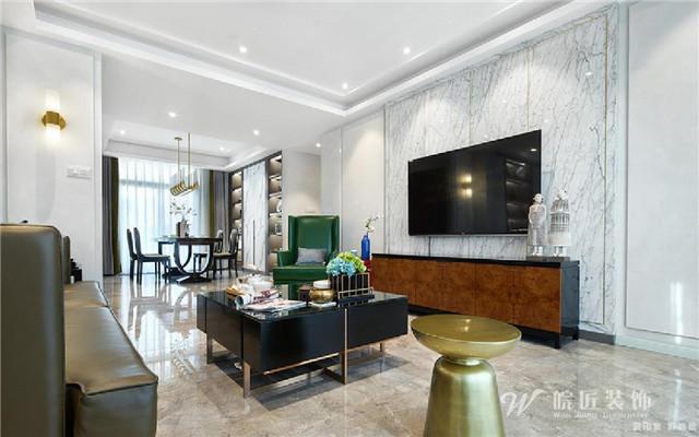 本方案在设计风格定位为新中式风格,电视墙以中式特有的木格造型图片