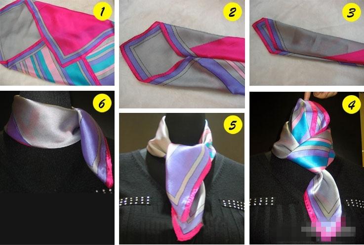 空姐丝巾的系法图解——空姐方丝巾的系法          步骤一,拎