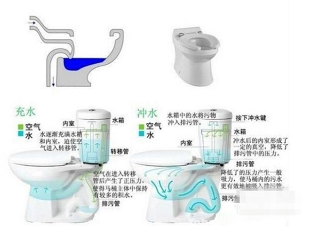 """虹吸式马桶内有一个完整的管道,形状呈侧倒状的""""s"""",池壁坡度较缓,噪音"""