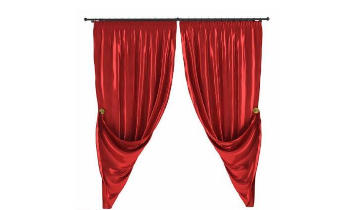 红色窗帘布