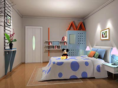 纱织床幔蓝色窗帘被褥,就像是在海边度假的感觉,在这样的房间,孩子