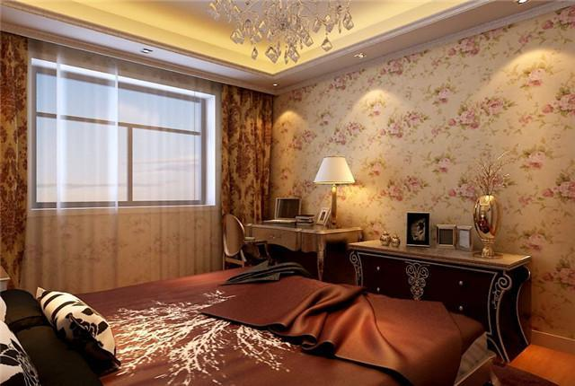 精美的花纹体现着欧式古典主义的特色,在壁纸上,靠包上,床品上