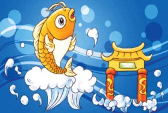 故事传说   古代传说黄河鲤鱼跳过龙门(河南省洛阳市龙门山),就会变化成龙。很早很早以前,龙门还未凿开,伊水流到这里被子龙门山挡住了,就在山南积聚了一个大湖。   居住在黄河里的鲤鱼听说龙门风光好,都想去观光。它们从和南孟津的黄河里出发,通过洛河,又顺伊河来到龙门水溅口的地方,但龙门山上无水路,上不去,它们只好聚在龙门的北山脚下。我有个主意,咱们跳过这龙门山怎样?