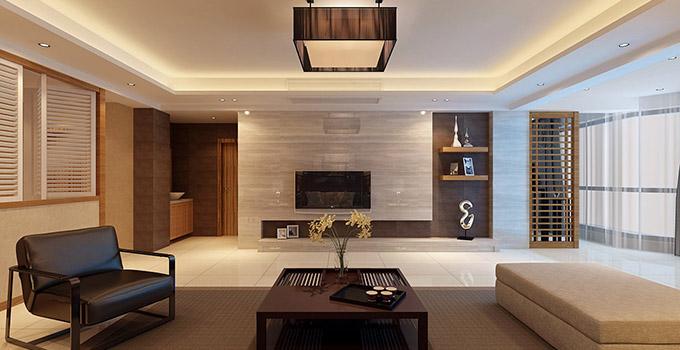 在客厅电视墙装修设计时最好选择绿色环保的墙纸,因为不少劣质