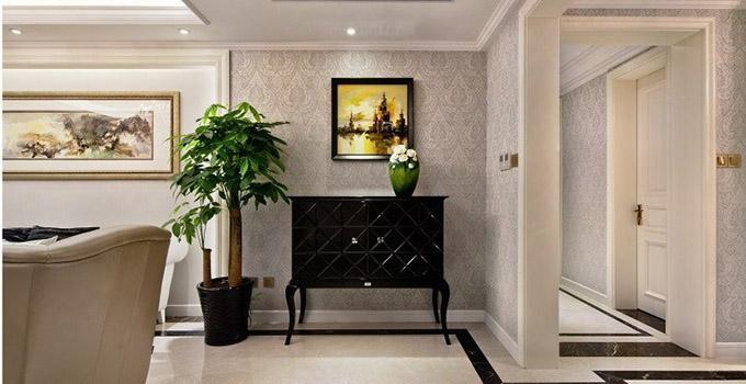 现代简约玄关设计:这款玄关柜设计注重细节造型上有各种弧度设计图片
