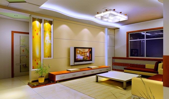 客厅电视背景墙壁灯布置方案