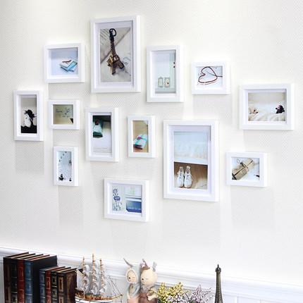 瓦妮莎实木照片墙装饰创意组合悬挂相框墙时尚卧室客厅欧式相片墙