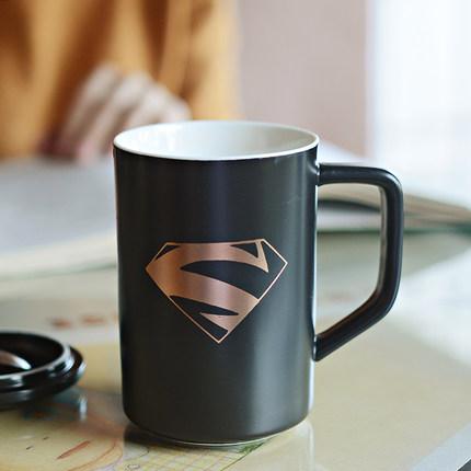 英雄联盟陶瓷杯子 创意咖啡杯 马克杯 超人水杯 带盖勺子定制logo图片
