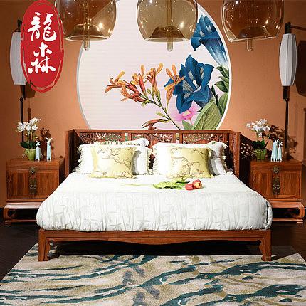 龙森红木实木床 现代新中式刺猬紫檀卧室双人床 明清古典简约家具