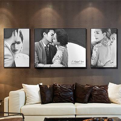 定制 婚纱照相框挂墙/皮雕大框创意定制/金属三组合/客厅卧室韩式简约