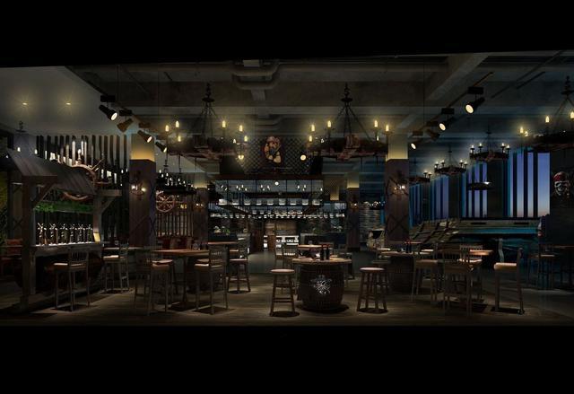 海鲜主题创意餐厅装修设计效果图案例