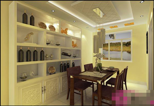 背景墙与酒柜装修在了一起,除了放置一些红酒之外,再放上一些装饰品