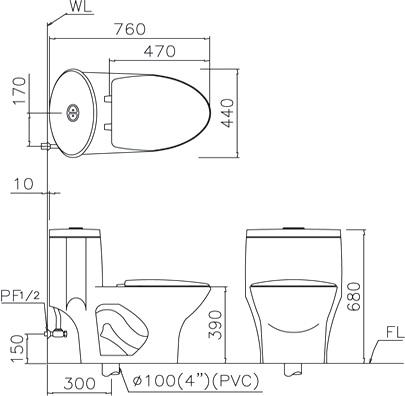 马桶坐便结构图