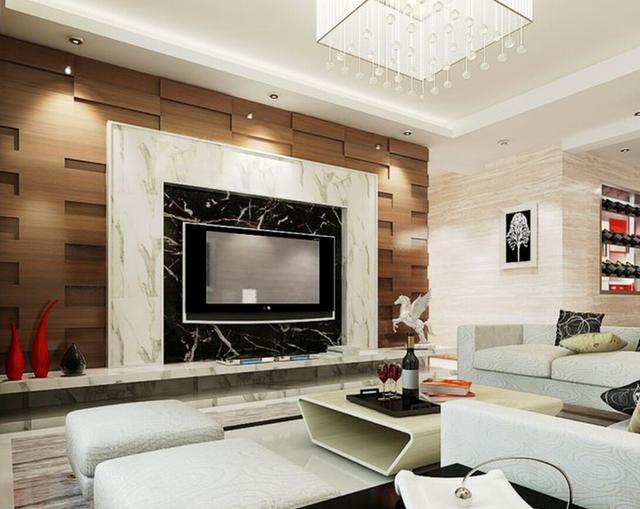 白墙简单电视墙造型-这么装 14款电视背景墙装修