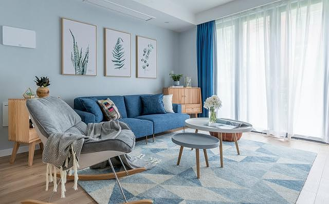 127㎡北欧风格装修  原木色+蓝色的清新舒适