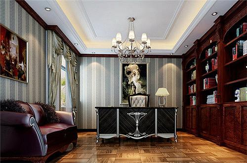 欧式书房效果图 99㎡楼中楼欧式书房设计案例
