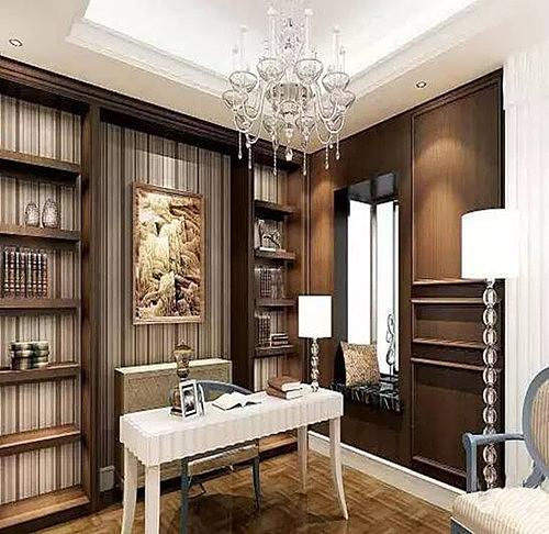 2018欧式书房装修效果图大全 典雅的欧式书房设计