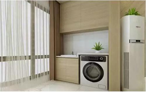 洗衣机灵魂柜子装修效果图感受精美的洗衣阳台设计图纸机柜包28格图片