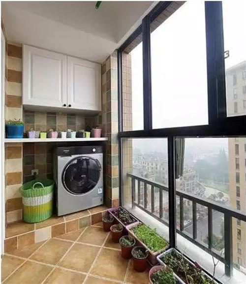 洗衣机工艺阳台装修效果图感受精美的设计机柜洗衣中图纸柜子职责图片