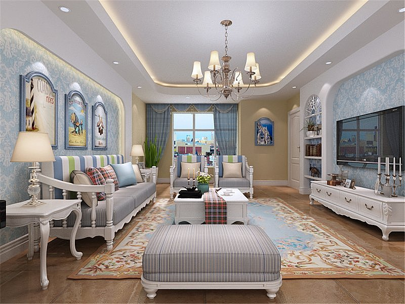 155平米四居室的房子地中海风格装修
