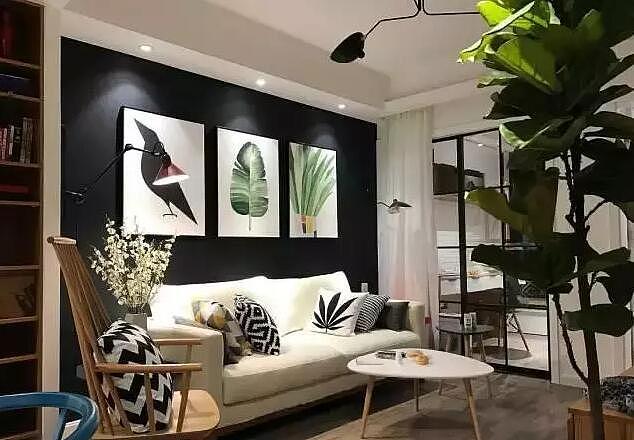 65㎡的北欧风小窝 黑色的沙发背景墙太牛了!