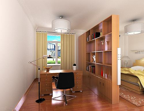 卧室加书房装修效果图 卧室书房隔断设计
