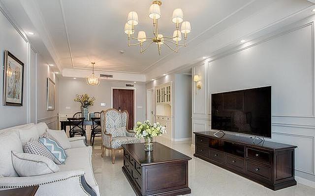 98平米美式风格新房装修 客厅装修的非常温馨舒适
